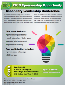 Secondary Conference Rate Card